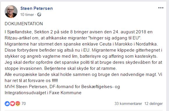 Steen Petersens opslag på Facebook.