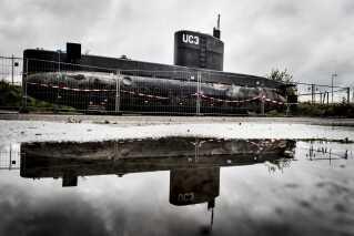 Ubåden Nautilus står på land i Københavns Nordhavn. Peter Madsen ejer ikke selv ubåden. Det gør selskabet Raket Madsens Rumlaboratorium Aps.
