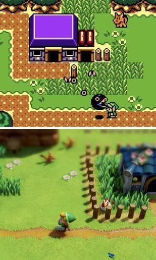 Det originale spil udkom i sort-hvid i 1993 til Game Boy. Senere blev der udgivet en ny version i farver, 'The Legend of Zelda: Link's Awakening DX', der udkom til Game Boy Color i 1998 (øverst). Nederst ses et screenshot fra remake-udgaven, der kommer til Nintendo Switch i 2019.
