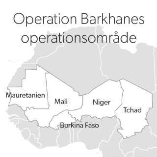 Her ses landene, som er en del af Operation Barkhane.