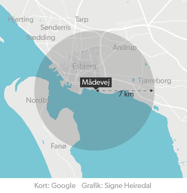 I Kalundborg kan naboerne lugte svolvbrinte op til syv kilometer væk. I Esbjerg vil det svare til alt inde for cirklen her vil være berørt af stanken i tilfælde af et udslip.