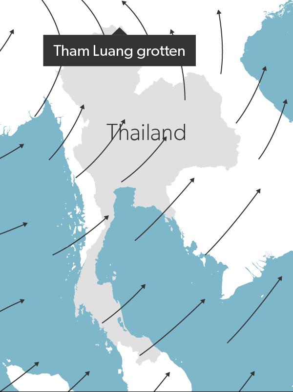 Sommermonsun over Thailand. Pilene viser, hvordan vindene blæser fugtig luft fra havet ind over land.