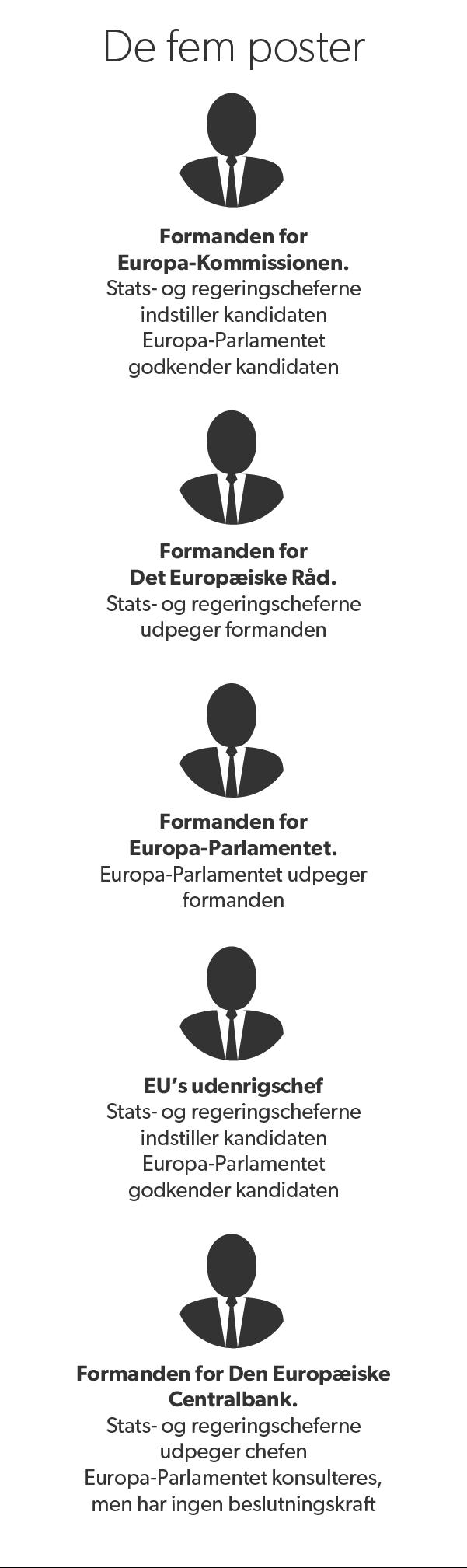 Her er de fem EU-topposter, der skal genbesættes i år.