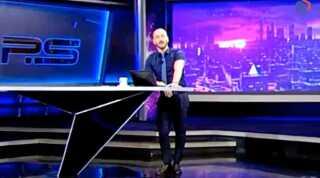Billede fra udsendelsen, hvor værten Giorgi Gabunia sendte en tirade afsted mod Vladimir Putin.