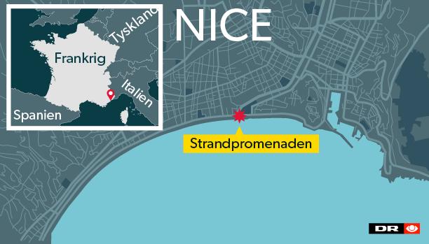 Angrebet fandt sted på Promenades des Anglais – den berømte boulevard i Nice - omkring klokken 22.30.