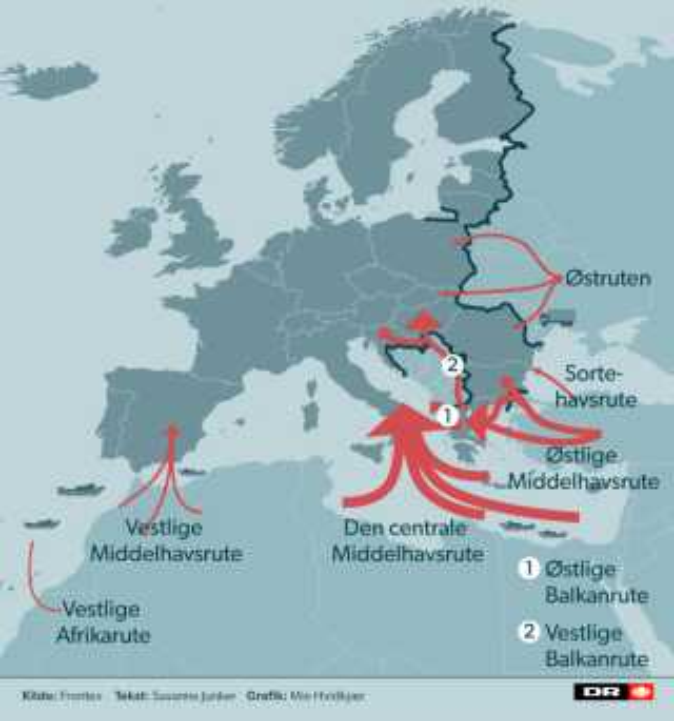 Her er de oftest benyttede ruter til Europa.