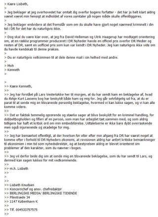 Kenneth Plummer og Lisbeth Knudsens mailudveksling