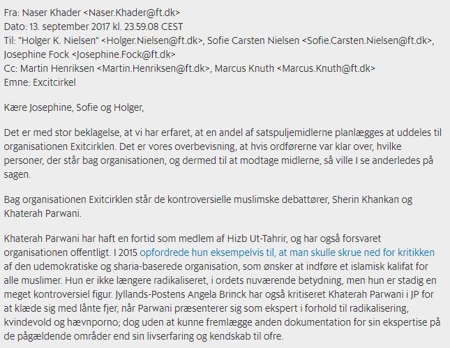 Et udklip fra mailen, som Berlingske bringer.