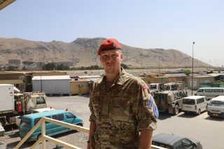 Nicolai Jarl Lindby Bagge ses her i sin lejr, Hamid Karzai International Airport, hvor han også holdt til, første gang han var udsendt til Afghanistan.