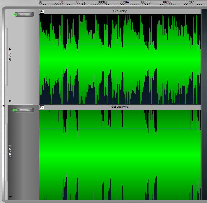 """Her ser du en komprimering af en lydfil.  Øverst er den """"normale"""" indspilning, hvor der er tydelige pauser og stor afstand mellem høje og lave lyde. Nederst er lydfilen skruet op for at give nummeret gennemslagskraft. Men det betyder også, at nuancerne forsvinder."""