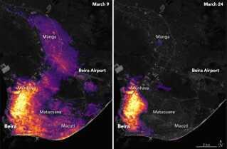 Her ses et tydeligt billede på stormen Idais ødelæggelser. Til venstre ses menneskeskabt lys  fra området omkring byen Beira, inden Idai ramte. Billedet til højre er fire dage efter, Idai ramte.