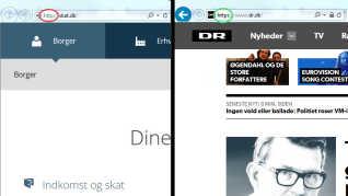 Når du besøger en hjemmeside, kan du se, om den er sikker ved at kigge øverst til venstre. Hvis der står http er siden ikke sikker (se rød cirkel til venstre), men står der https er siden sikker (se grøn cirkel til højre).