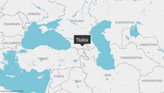 Kort over Georgien med hovedstaden Tibilisi og landene omkring.