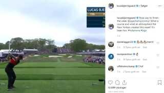 Lucas Bjerregaard var den eneste, der lavede hole-in-one ved majorturneringen PGA Champioship i år. Det var blot hans andet lykketræf i karrieren.