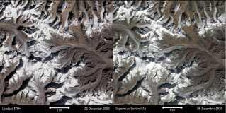 Verdens gletsjere trækker sig tilbage. Denne i Indien. Satellit-billedet til venstre er fra år 2000. Det til højre fra år 2018. Mange gletsjere har, ifølge klimaprofessor Sebastian Mernild fra Nansencenteret i Bergen,  i dag mistet mellem 30-50 procent af deres masse, mens andre helt er forsvundet.