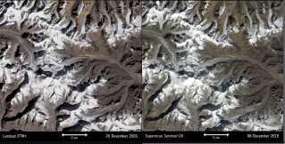 Verdens gletsjere trækker sig tilbage. Billedet her er fra Indien. Billedet til venstre er fra 2000, og billedet til højre er fra 2018.  Ifølge klimaprofessor Sebastian Mernild fra Nansencenteret i Bergen har mange gletschere i dag mistet mellem 30-50 procent af deres masse, mens andre helt er forsvundet.