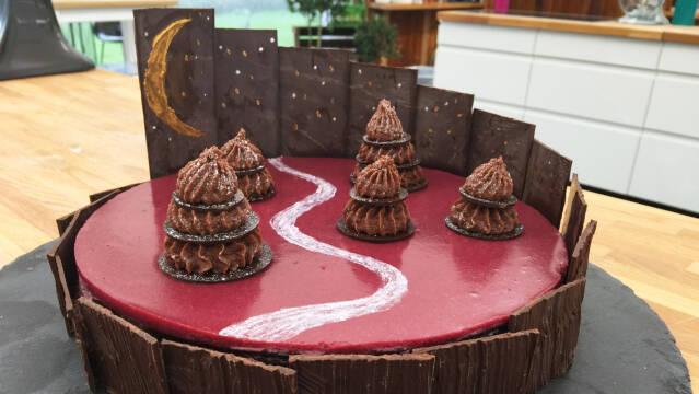 skovbærkage med chokolade