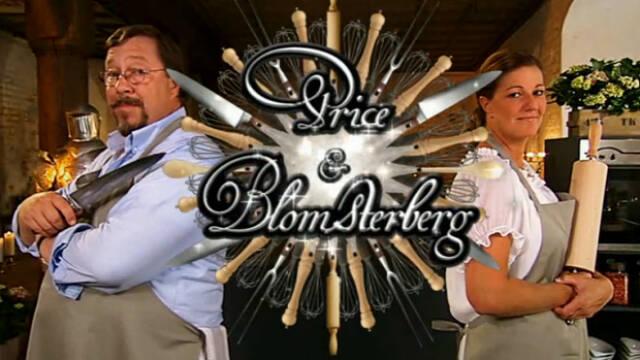 James Price med kniv og Mette Blomsterberg med kagerulle