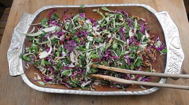 Billedet viser en velsmagende og frisk salat af kål, kaktus og krydderurter.