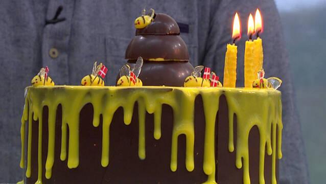 Bikage med chokoladekant og moussee