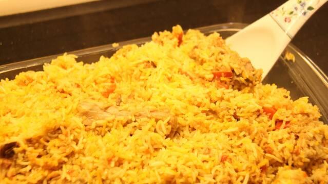 Biryani med ris og kylling