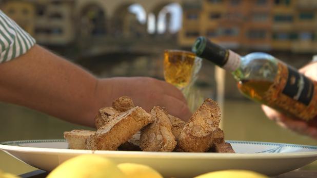 Billede af biscotte di Prato med Vin Santo