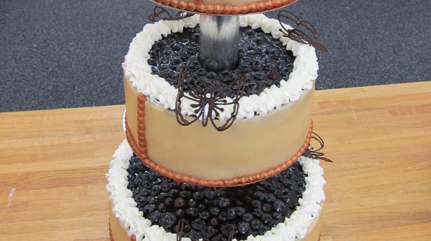Billede af bryllupskage med solbær- og blåbærmousse