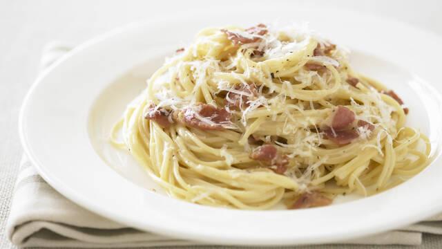 Cremet spaghetti carbonara med pancetta