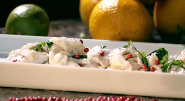Billede af ceviche af torsk med Baies Rose og koriander