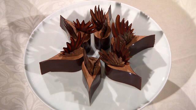 Smuk chokoladedessert formet som elegante dråber