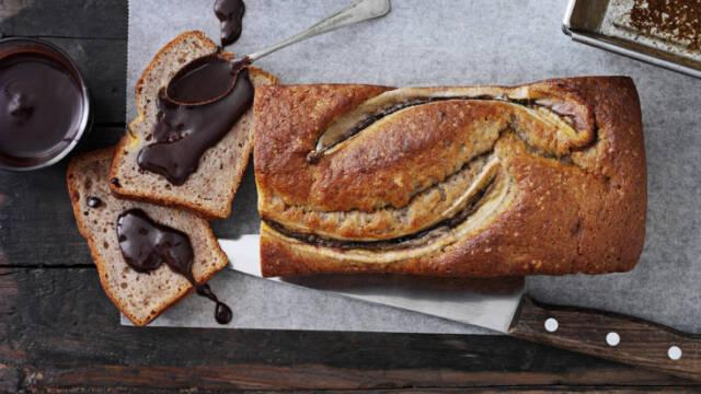Banankage med mørk chokolade
