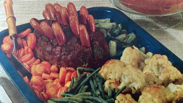 Billede af farspindsvin med grøntsager