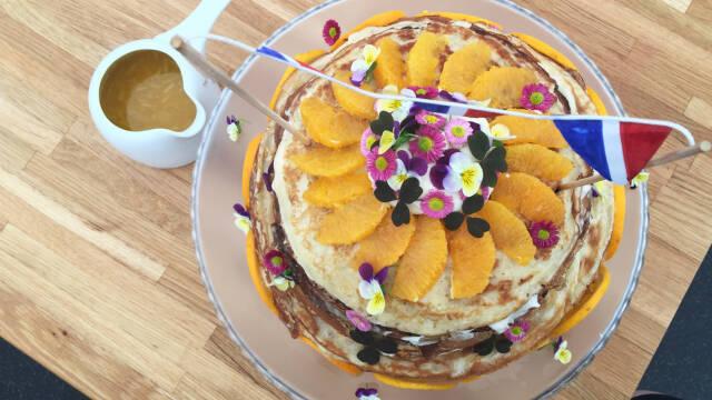 Pandekage-kage med appelsin
