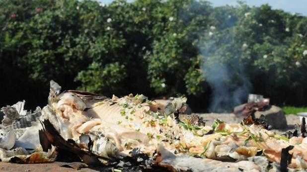 Billede af fisk tilberedt i avis over bål