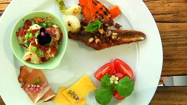 Sommeranretning med fisk, tomater og ost
