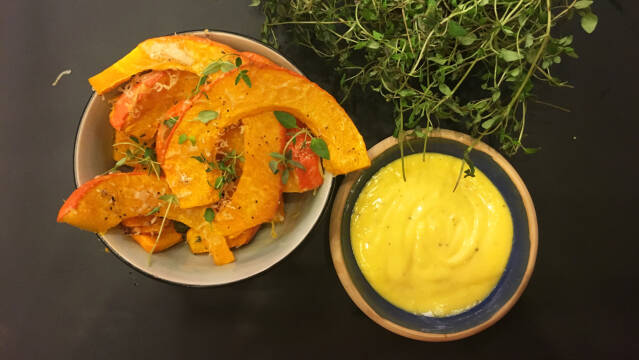 Græskarfritter med parmesan og mayonnaise