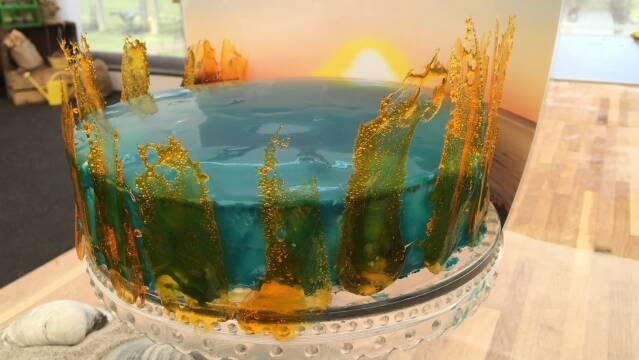 Billede af kagen 'Solopgang over Hals Barre'