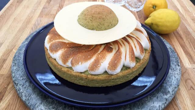 Tærte med citron og basilikum.