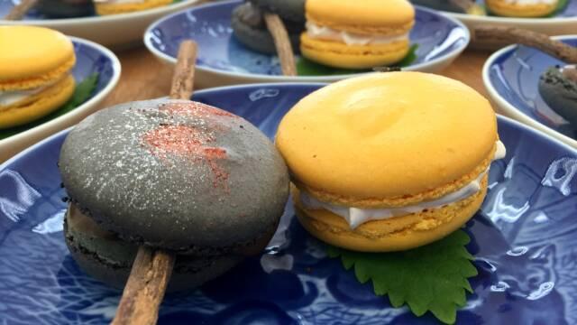 Billede af to slags macarons med komplimenterende smage