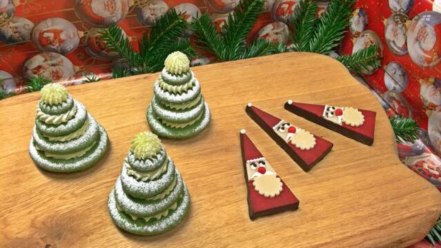 Macaron-juletræer og marcipan-nisser