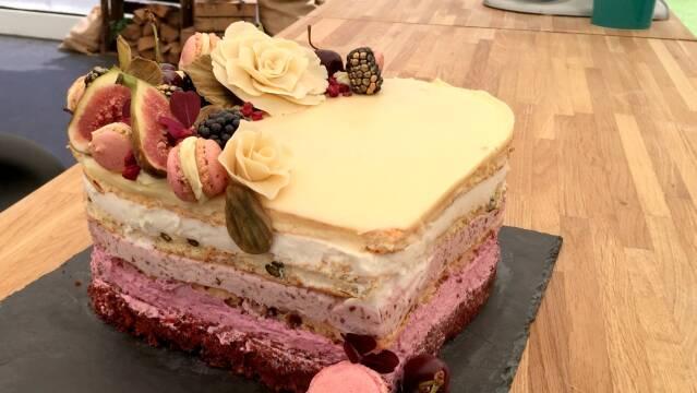 Smuk kage i lag med mousser af bær og frugt
