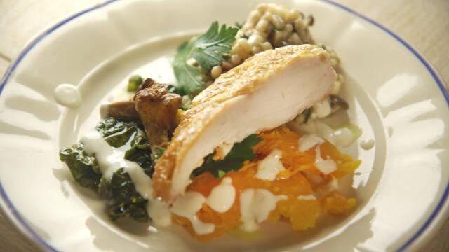 tallerken med kylling, græskar og perlebyg.
