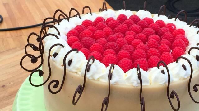Billede af klassisk frugtkage med hindbær