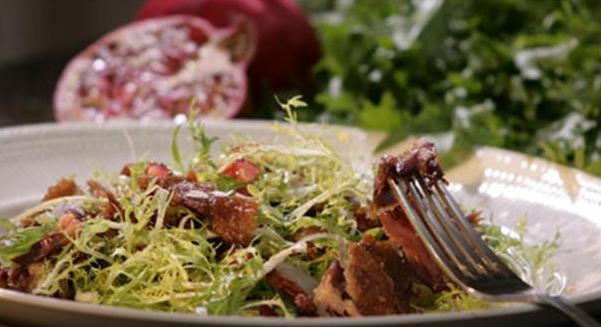 Billede af lun salat med andeconfit