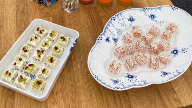 Fransk nougat og pate de fruit på to fade