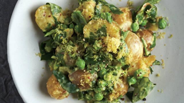 Lun kartoffelsalat med grøntsager og krydderurter
