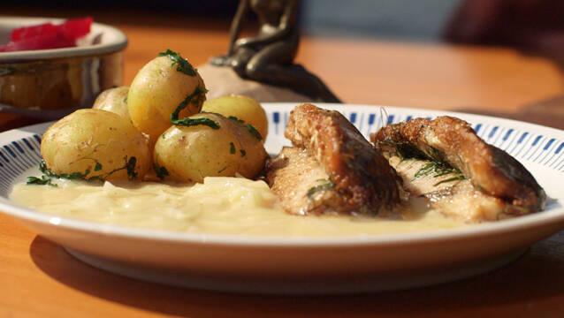 Sild, løgsovs og kartofler