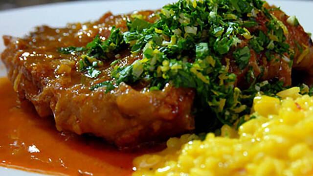 Ossobuco på kalveskank med risotto