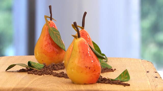 Dessert formet som pærer