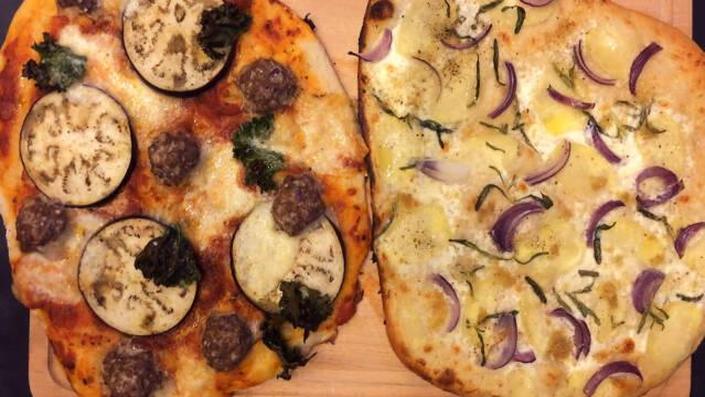 Kartoffelpizza med rosmarin, hvidløg og mascarpone